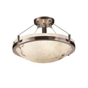 LumenAria Ring - 3 Light Semi-Flush Mount with Round Bowl Faux Alabaster Shade