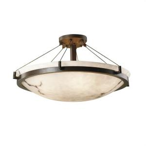 LumenAria Ring - 6 Light Semi-Flush Mount with Round Bowl Faux Alabaster Shade