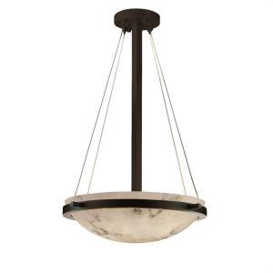 LumenAria Ring - 3 Light Pendant with Round Bowl Faux Alabaster Shade