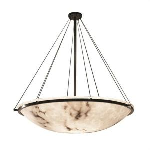 LumenAria Ring - 8 Light Pendant with Round Bowl Faux Alabaster Shade
