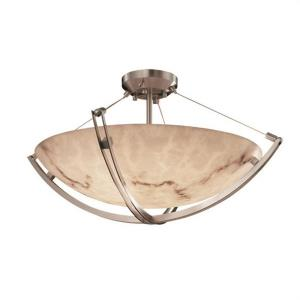 LumenAria Crossbar - 3 Light Semi-Flush Mount with Round Bowl Faux Alabaster Shade