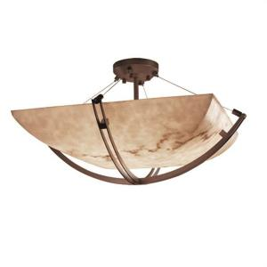 LumenAria Crossbar - 6 Light Semi-Flush Mount with Square Bowl Faux Alabaster Shade