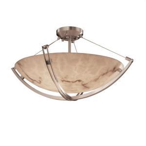 LumenAria Crossbar - 6 Light Semi-Flush Mount with Round Bowl Faux Alabaster Shade
