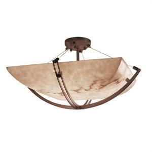 LumenAria Crossbar - 8 Light Semi-Flush Mount with Square Bowl Faux Alabaster Shade