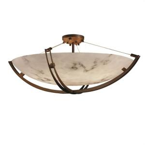 LumenAria Crossbar - 8 Light Semi-Flush Mount with Round Bowl Faux Alabaster Shade