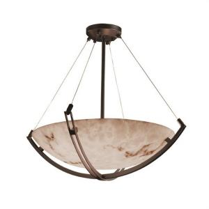 LumenAria Crossbar - 8 Light Pendant with Round Bowl Faux Alabaster Shade