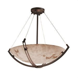 LumenAria Crossbar - 8 Light Pendant with Round Bowl Faux Alabaster Shade