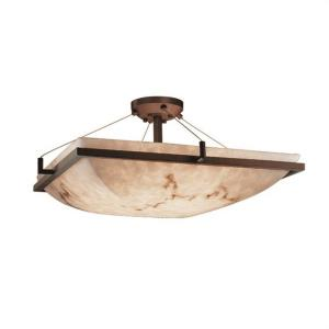 LumenAria Ring - 3 Light Semi-Flush Mount with Square Bowl Faux Alabaster Shade