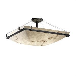 LumenAria Ring - 8 Light Semi-Flush Mount with Square Bowl Faux Alabaster Shade