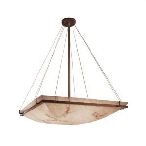 LumenAria Ring - 8 Light Pendant with Square Bowl Faux Alabaster Shade