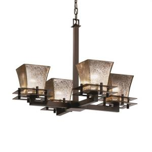 Fusion Metropolis - 4 Light Chandelier with Square Flared Mercury Glass Shade
