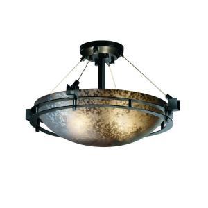 Fusion Metropolis - 3 Light Semi-Flush Mount with Round Bowl Mercury Glass Shade