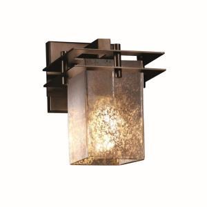 Fusion Metropolis - 1 Light 2 Flat Bars Wall Sconce with Square/Flat Rim Mercury Glass Shade