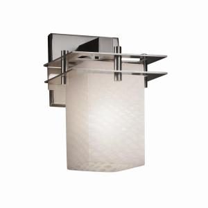 Fusion Metropolis - 1 Light 2 Flat Bars Wall Sconce with Square/Flat Rim Weave Glass Shade