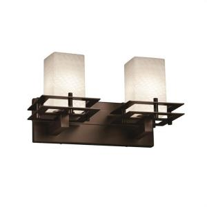 Fusion Metropolis - 2 Light Bath Bar with Square/Flat Rim Weave Glass Shade