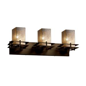 Fusion Metropolis - 3 Light Bath Bar with Square/Flat Rim Mercury Glass Shade