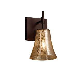 Fusion Union - 1 Light Short Wall Sconce with Round Flared Mercury Glass Shade
