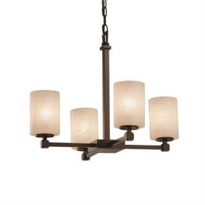 Fusion Tetra - 4 Light Chandelier with Cylinder/Flat Rim Weave Glass Shade
