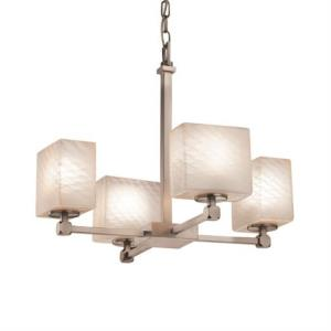 Fusion Tetra - 4 Light Chandelier with Rectangle Weave Glass Shade