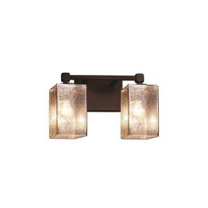 Fusion Tetra - 2 Light Bath Bar with Square/Flat Rim Mercury Glass Shade