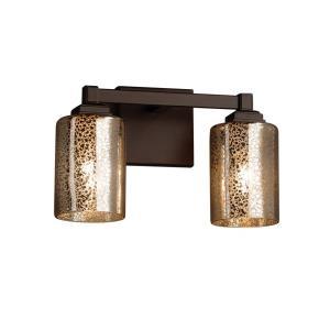 Fusion Regency - 2 Light Bath Bar with Cylinder/Flat Rim Mercury Glass Shade