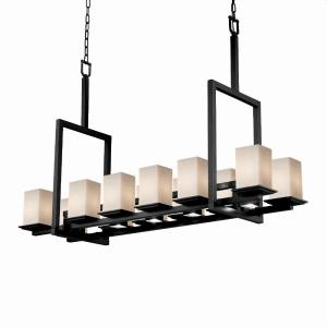 Fusion Montana - 12 Light Up and 5 Downlight Tall Bridge Chandelier with Square/Flat Rim Opal Glass Shade