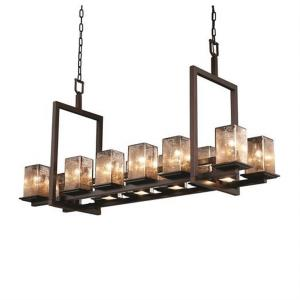 Fusion - Montana 12-Up and 5-Downlight Short Bridge Chandelier