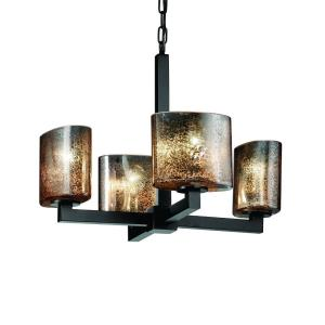 Fusion Modular - 4 Light Chandelier with Oval Mercury Glass Shade