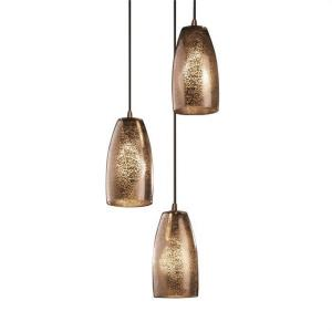 Fusion Small - 3 Light Cluster Pendant with Tall Tapered Cylinder Mercury Glass Shade