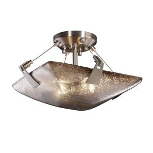 Fusion Tapered Clips - 2 Light Semi-Flush Mount with Square Bowl Mercury Glass Shade