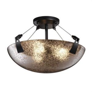 Fusion Tapered Clips - 3 Light Semi-Flush Mount with Round Bowl Mercury Glass Shade