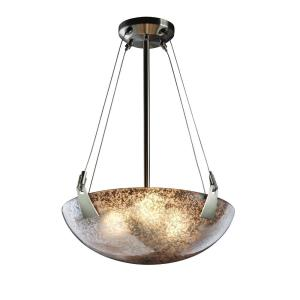 Fusion Tapered Clips - 3 Light Pendant with Round Bowl Mercury Glass Shade