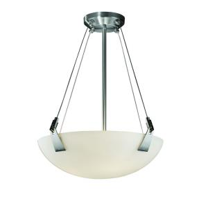 Fusion Tapered Clips - 3 Light Pendant with Round Bowl Opal Glass Shade