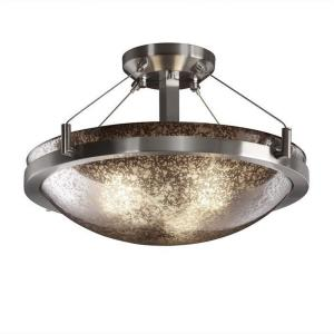 Fusion Ring - 3 Light Semi-Flush Mount with Round Bowl Mercury Glass Shade