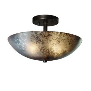 Fusion Ring - 2 Light Semi-Flush Mount with Round Bowl Mercury Glass Shade