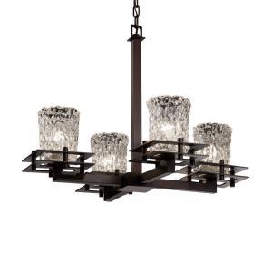 Veneto Luce Metropolis - 4 Light Chandelier with Cylinder/Rippled Rim Clear Textured Venetian Glass