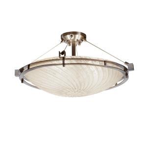 Veneto Luce Metropolis - 6 Light Semi-Flush Mount with Round Bowl Whitewash Venetian Glass