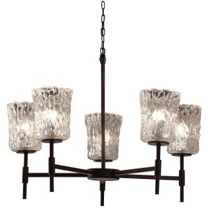 Veneto Luce Union - 5 Light Chandelier with Cylinder/Rippled Rim Clear Textured Venetian Glass