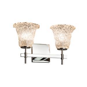 Veneto Luce Union - 2 Light Bath Bar with Round Flared Lace Venetian Glass