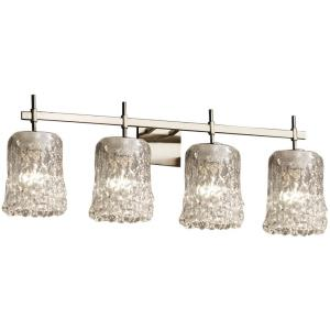 Veneto Luce Union - 4 Light Bath Bar with Cylinder/Rippled Rim Clear Textured Venetian Glass