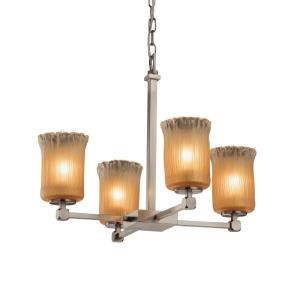 Veneto Luce Tetra - 4 Light Chandelier with Cylinder/Rippled Rim Gold/Clear Rim Venetian Glass