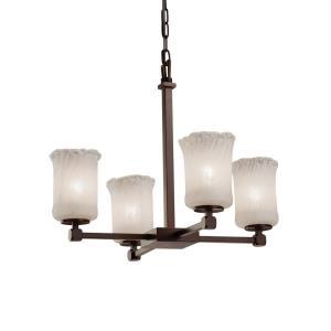 Veneto Luce Tetra - 4 Light Chandelier with Cylinder/Rippled Rim Whitewash Venetian Glass