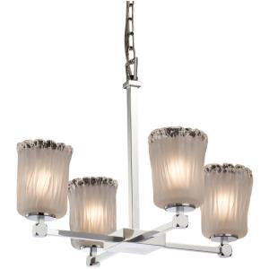 Veneto Luce Tetra - 4 Light Chandelier with Cylinder/Rippled Rim White Frosted Venetian Glass