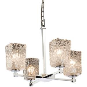 Veneto Luce Tetra - 4 Light Chandelier with Square/Rippled Rim Clear Textured Venetian Glass