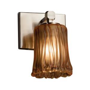 Veneto Luce Tetra - 1 Light Wall Sconce with Cylinder/Rippled Rim Amber Venetian Glass