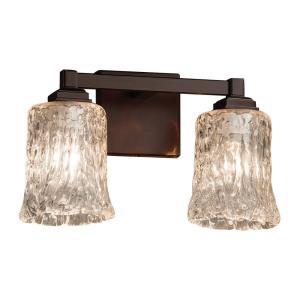 Veneto Luce Regency - 2 Light Bath Bar with Cylinder/Rippled Rim Clear Textured Venetian Glass