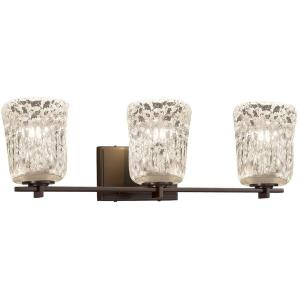 Veneto Luce Era - 3 Light Bath Bar with Cylinder/Rippled Rim Clear Textured Venetian Glass