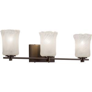 Veneto Luce Era - 3 Light Bath Bar with Cylinder/Rippled Rim Whitewash Venetian Glass