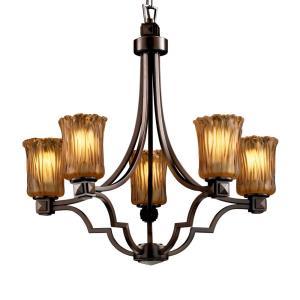 Veneto Luce Argyle - 5 Light Chandelier with Cylinder/Rippled Rim Amber Venetian Glass