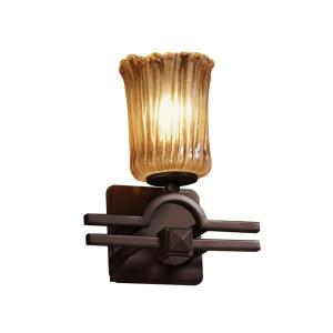 Veneto Luce Argyle - 1 Light Wall Sconce with Cylinder/Rippled Rim Amber Venetian Glass